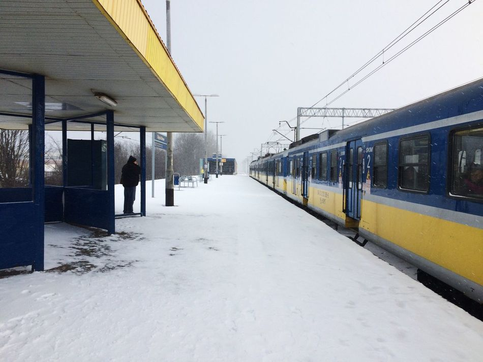 Traveling Home For The Holidays Urban Space Railway Winter Snow Lines Yellow Blue Alone Train Mystery Perspective