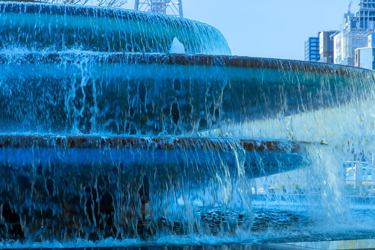 Blue Daylight Fountain Japan Motion Nagoya-shi Water Water Flowing Water Flowing Down