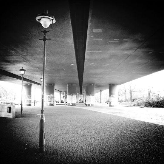 Under the bridge :: Street Lamp Monday Black And White Streetphoto_bw