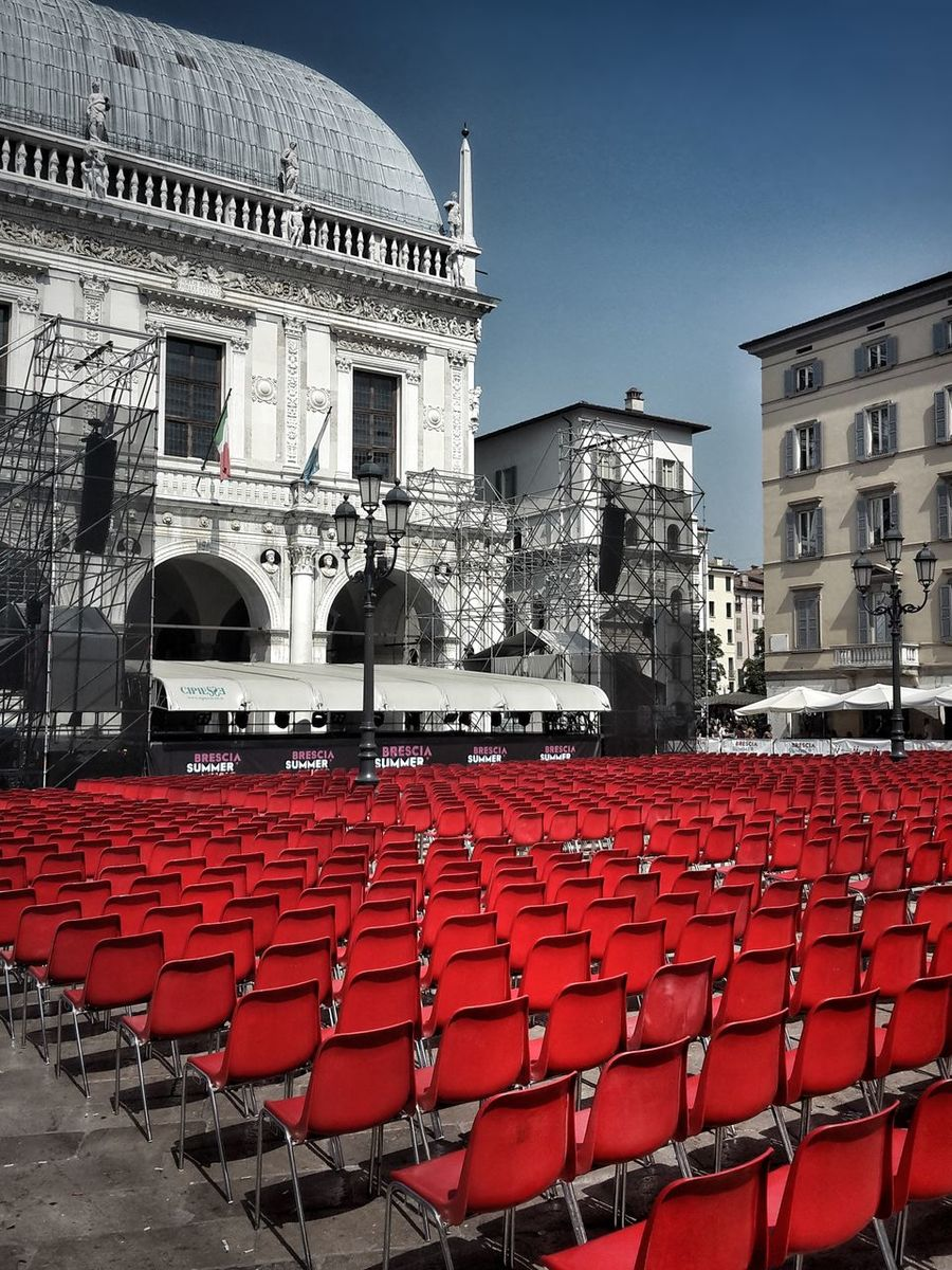 Almost ready for the show Architecture Building Exterior Town Hall Square Arts Culture And Entertainment My City Chairs In A Row City Urban Geometry Cityscape City Life Urban Photography Music Summer Festival Urban Art Urban Perspectives Concert Venue Outdoors Activities Show No People
