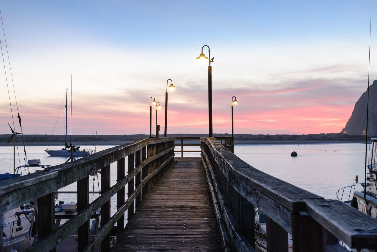 Landing stage Boats California Cloud - Sky Dock Harbor Horizon Over Water Jetty Lamp Landing Stage Lantern Lights Nature Pier Plank Quay Romantic Sea Sky Street Light Sunset Sunsets USA Water Wood - Material Wood Paneling