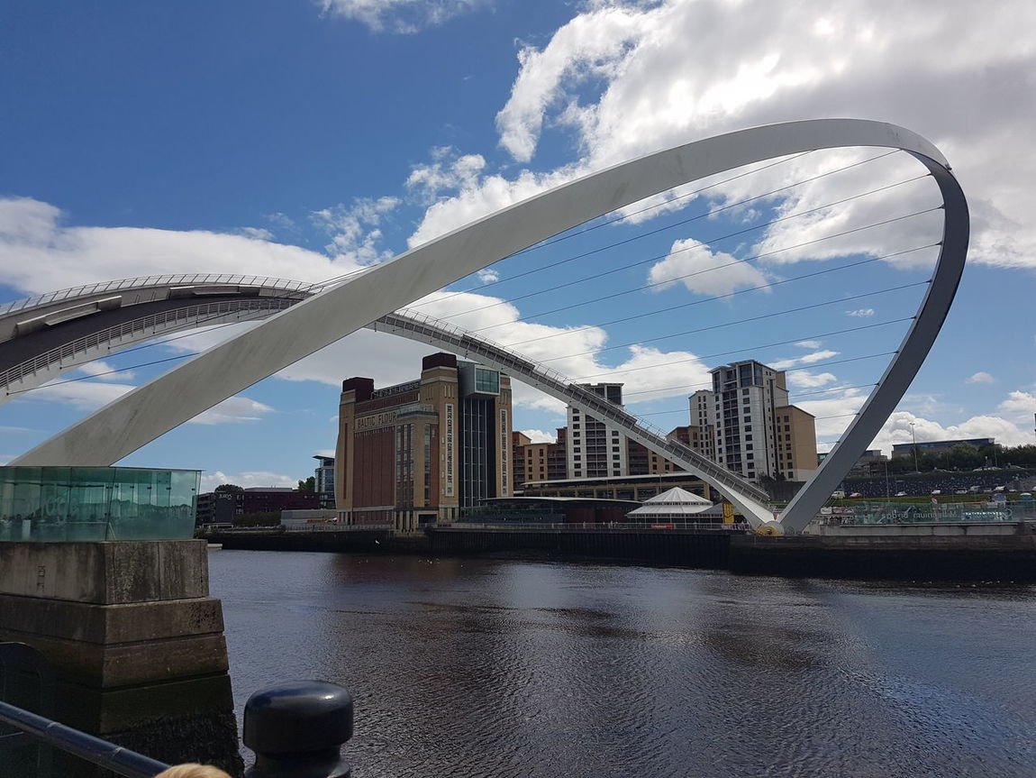 Sky Water Architecture Modern Cloud - Sky Bridge - Man Made Structure Built Structure No People Cityscape Urban Skyline Outdoors Day Millenium Bridge Newcastle Upon Tyne Gateshead Gateshead Millenium Bridge The Baltic Gallery