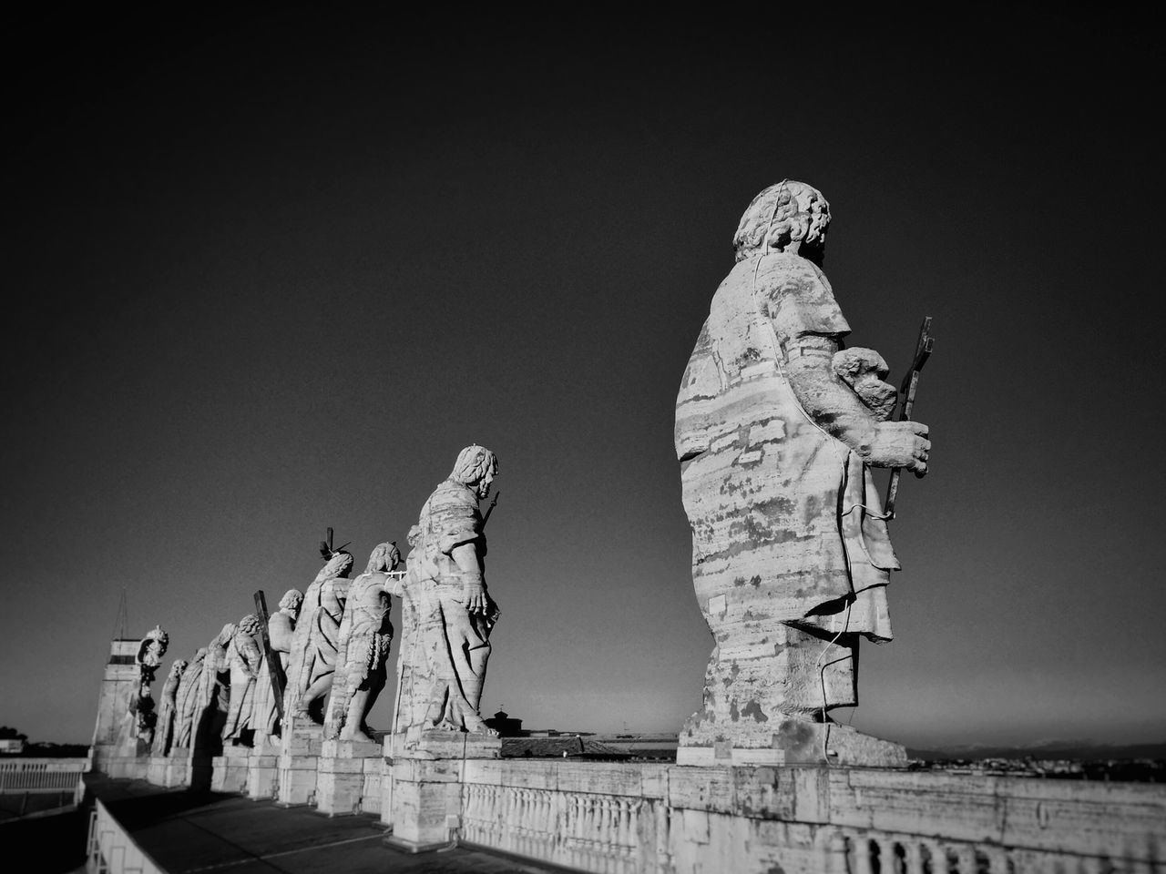 Statue Art And Craft Human Representation Sculpture Creativity No People Outdoors Day Sky Sculpted Rome Italy Saintpeter CupolaDiSanPietro
