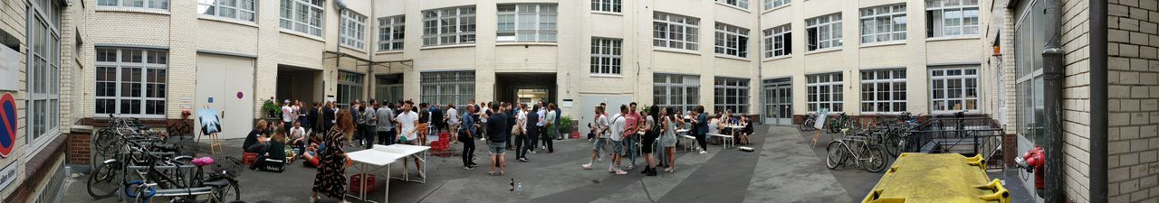 EyeEm Team throwing a Party in our Hof //City Architecture Building Exterior Large Group Of People Adults Only Outdoors Day Google Pixel via Fotofall
