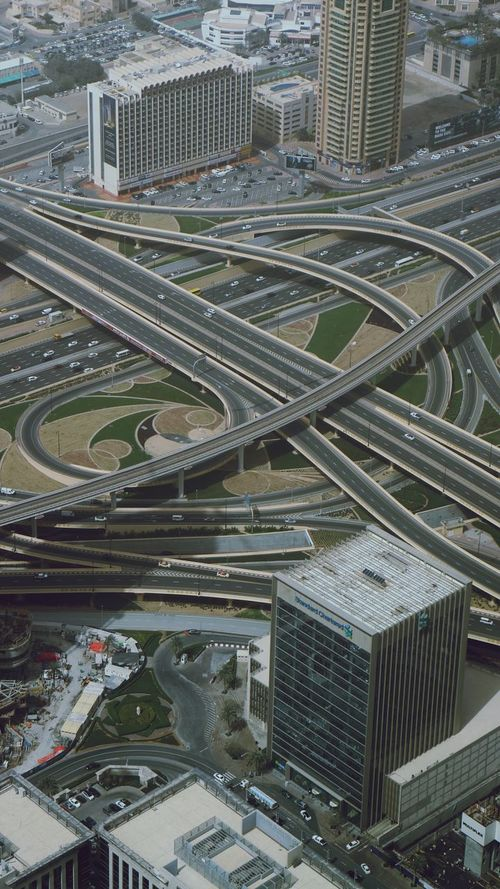Sim City 2000 😆 Dubai City High Angle View Road Intersection Cityscape Transportation Building Exterior Architecture Outdoors Traffic City Life Aerial View Car Overpass Modern Road Skyscraper Day Built Structure Highway Downtown District