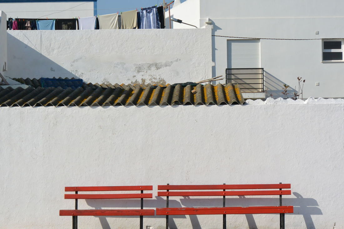 Architecture Bench Building Exterior Built Structure Day Eye4photography  From My Point Of View Nikon No People Outdoors Portugal Purist In Photography Purist No Edit No Filter Red Residential Building Santa Luzia Shadow The Purist (no Edit, No Filter) White