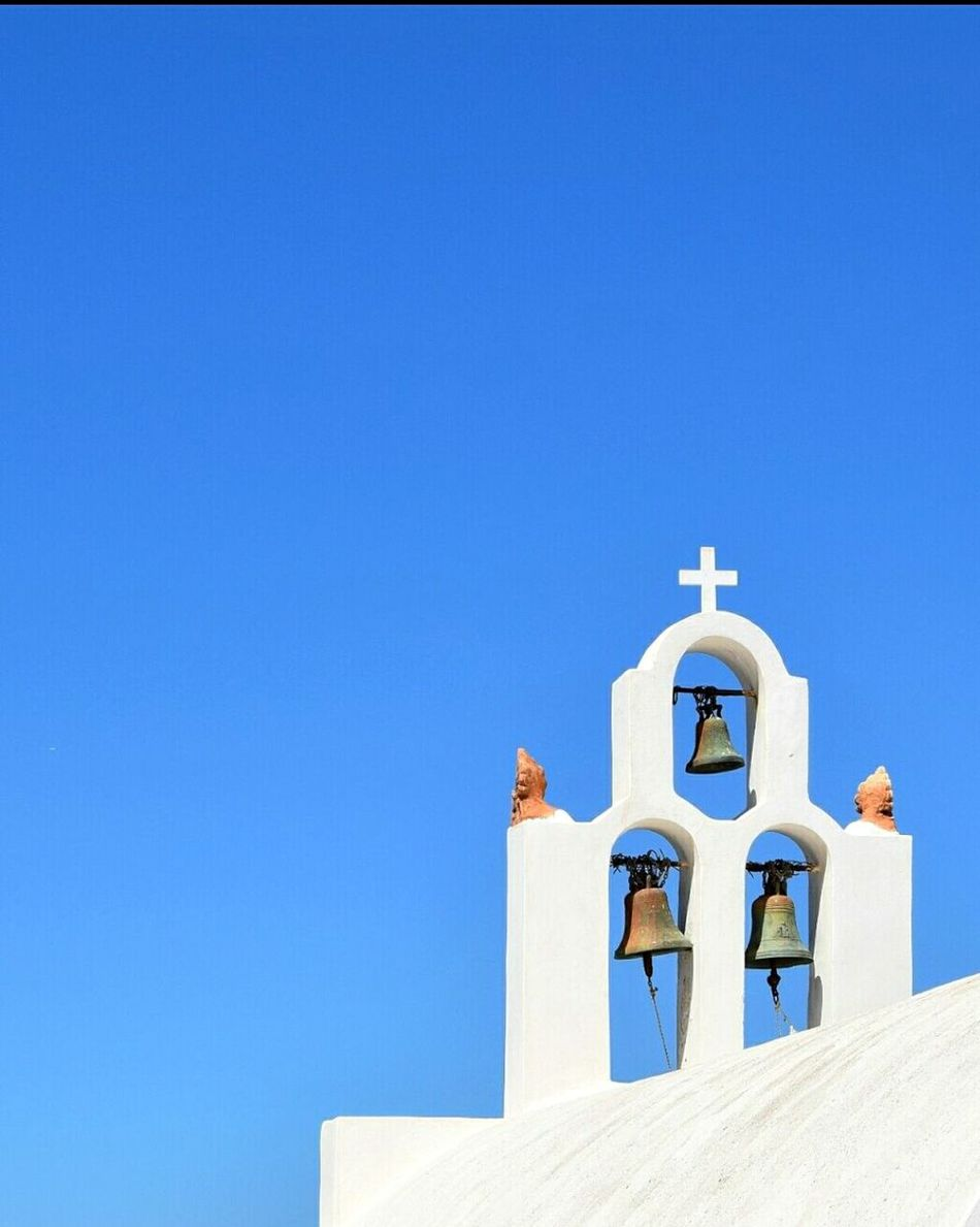 Bells Built Structure Architecture Sky Religion Building Exterior Photography Greece EyeEmNewHere 3XSPUnity Hellas Travel Destinations EyeEm Gallery Picsoftheday Santorini Island Santorini Tourism Eyeemphotography Bell Cross Spirituality Blue Art Is Everywhere