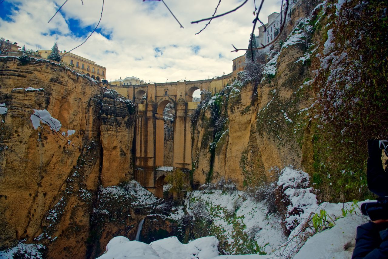 Across the Bridge in Winter. Andalusia. Architecture Beauty In Nature Brıdge Cold Temperature Day Mountain Nature No People Outdoors Ronda Spain Scenics Sky Snow Tago Bridge Travel Destinations Winter