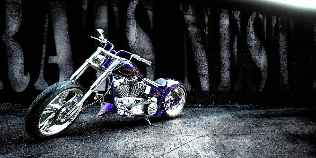 After Rain Custom Motorcycle Day Harley Davidson No People Outdoors Purple Transportation