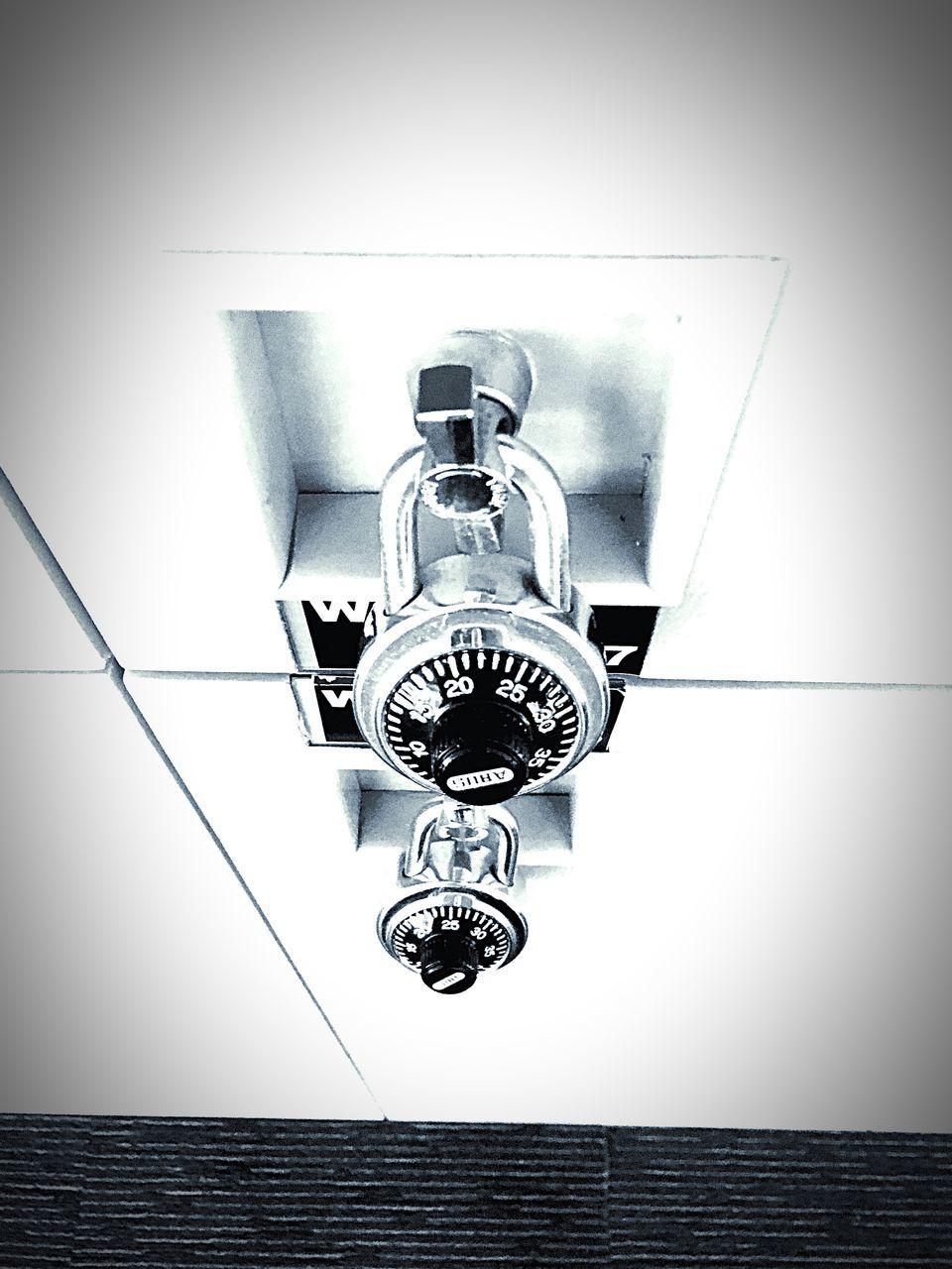 High Angle View Of Locked Locker