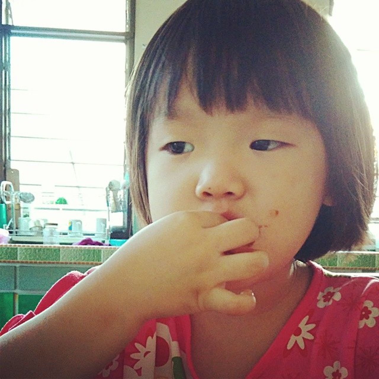 Asian  Chinese Little Girl Cute Kid Messy Eating Face