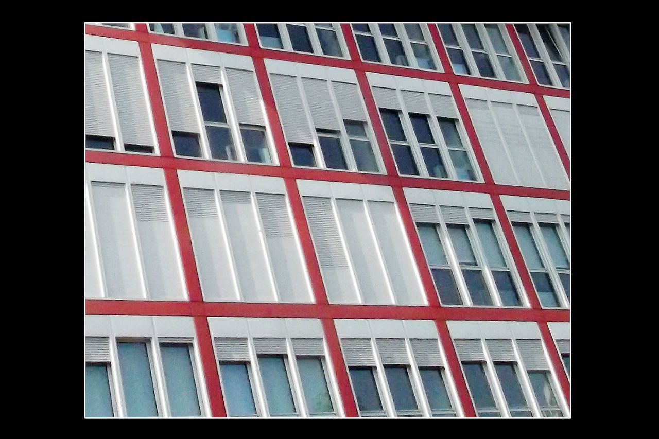 window, architecture, no people, building exterior, built structure, red, black background, outdoors, day, close-up