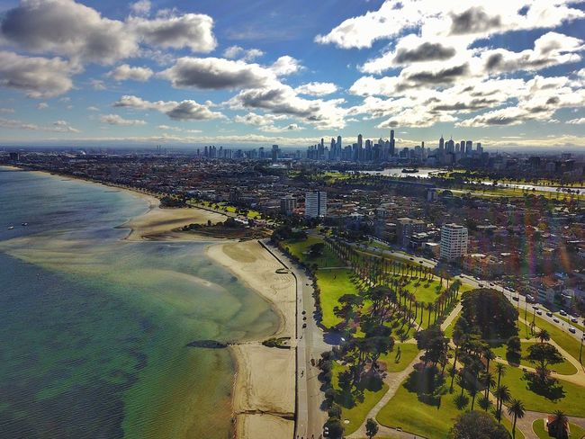 Oh what a city! Melbourne from St Kilda . # Architecture Built Structure Aerial View Cloud - Sky Sky Building Exterior Outdoors River City Travel Destinations Day Water Tree No People Cityscape Landscape Skyscraper Nature Beauty In Nature Golf Course #MavicPro #hdrphotography #stkildapier #Ocean #Skyline #beach #stkildabeach #Dronetastic #drone #dronestagram #australia #Victoria #drones #dronefly #aerialshot #dronefly #Drone