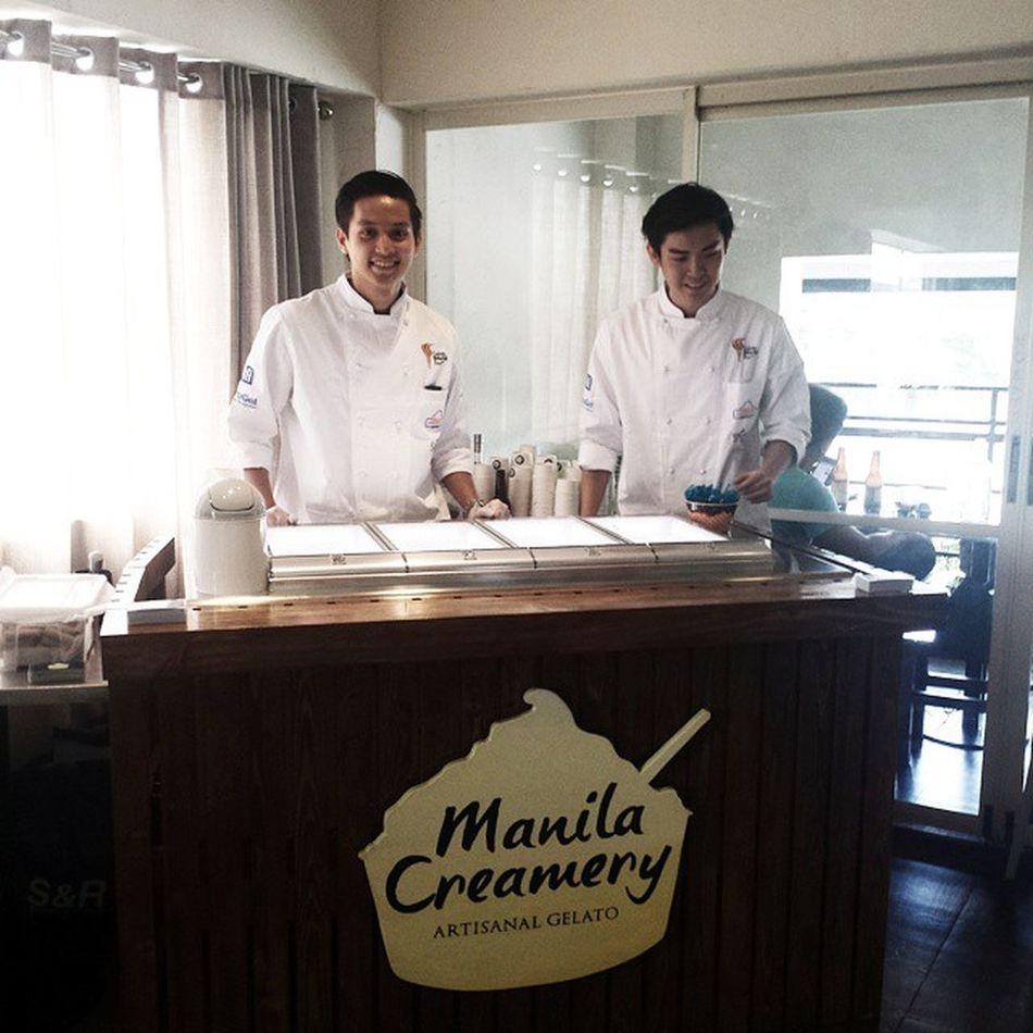 Getting ready to serve the newest gelato in town - @mnlcreamery Manilacreamery Mnlcreamery