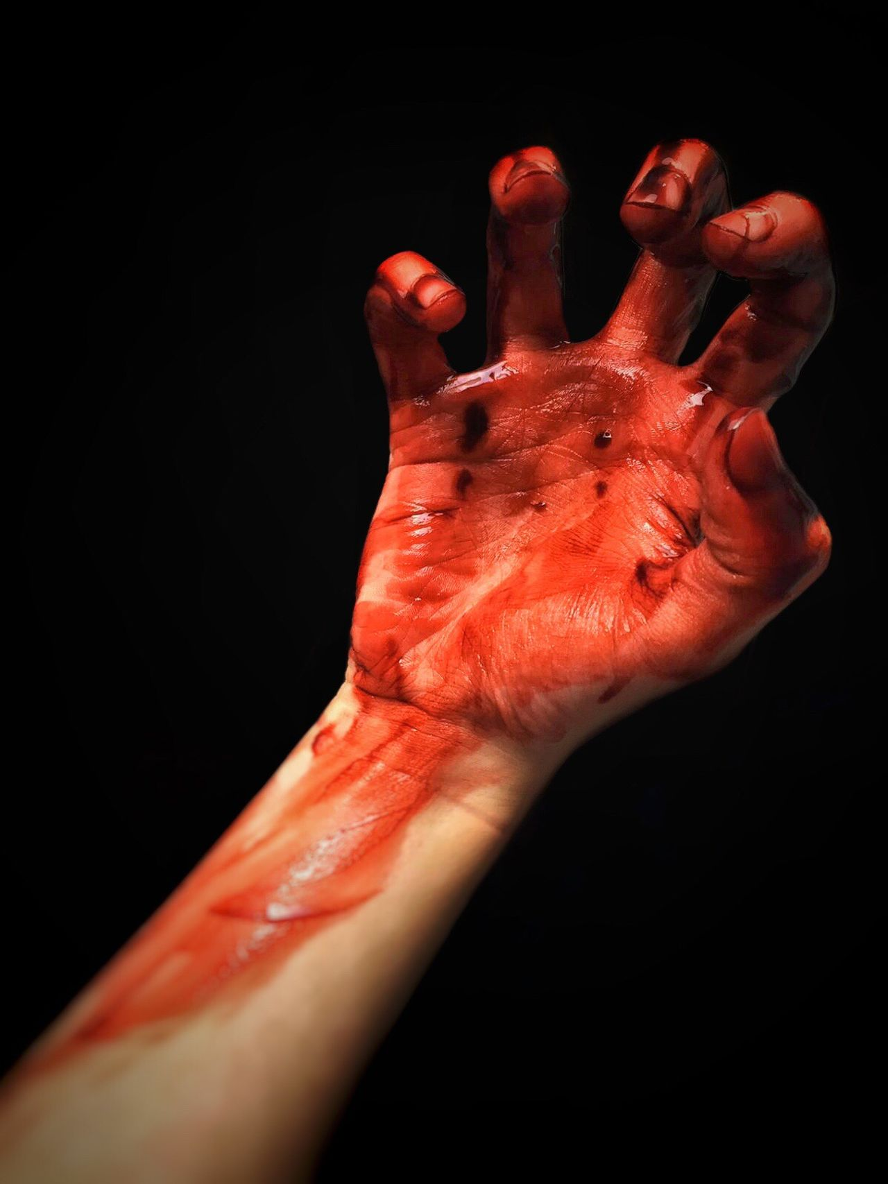 Human Hand Blood Human Body Part Red Physical Injury Damaged Human Blood Studio Shot Human Finger Spooky Shock Close-up One Person Pain Palm Black Background Adults Only Wound People Stage Make-up