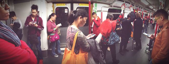 I can make you put your phone down Human Meets Technology Phone Obsession New Technology Hong Kong MTR Hong Kong Panoramic Photography