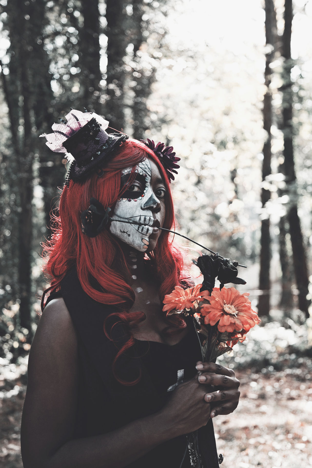 Accesories Adult Costume Dark Day Day Of The Dead Flowers Halloween Makeup One Person Only Women People Portrait Real People Red Tree Women Women Who Inspire You Uniqueness