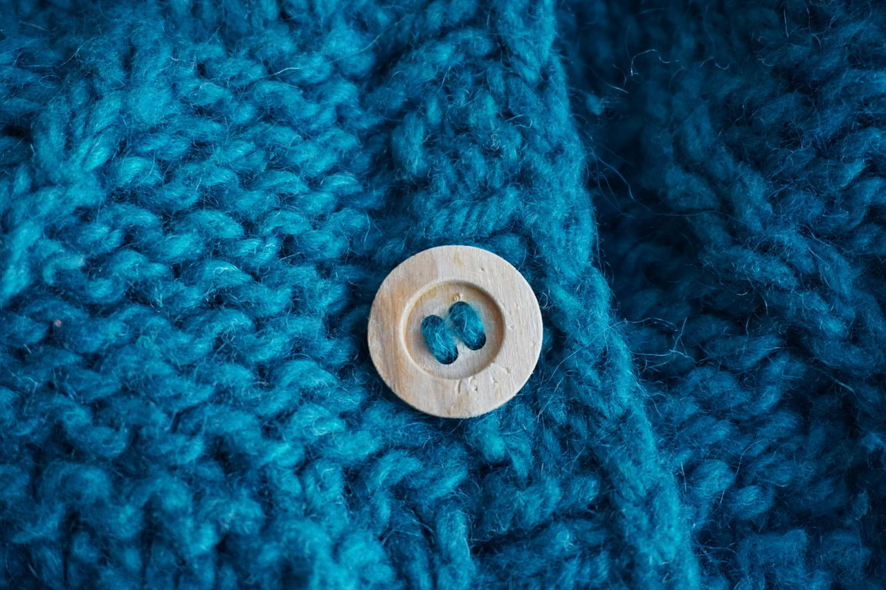 knitted Blue Close-up Knitted  No People Handmade DIY Button Buttons Wood - Material Wool Woolen Jacket