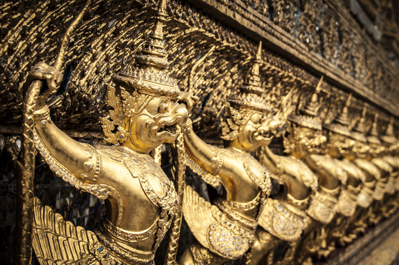 statue, sculpture, art and craft, gold colored, religion, gold, no people, spirituality, close-up, architecture, day, outdoors