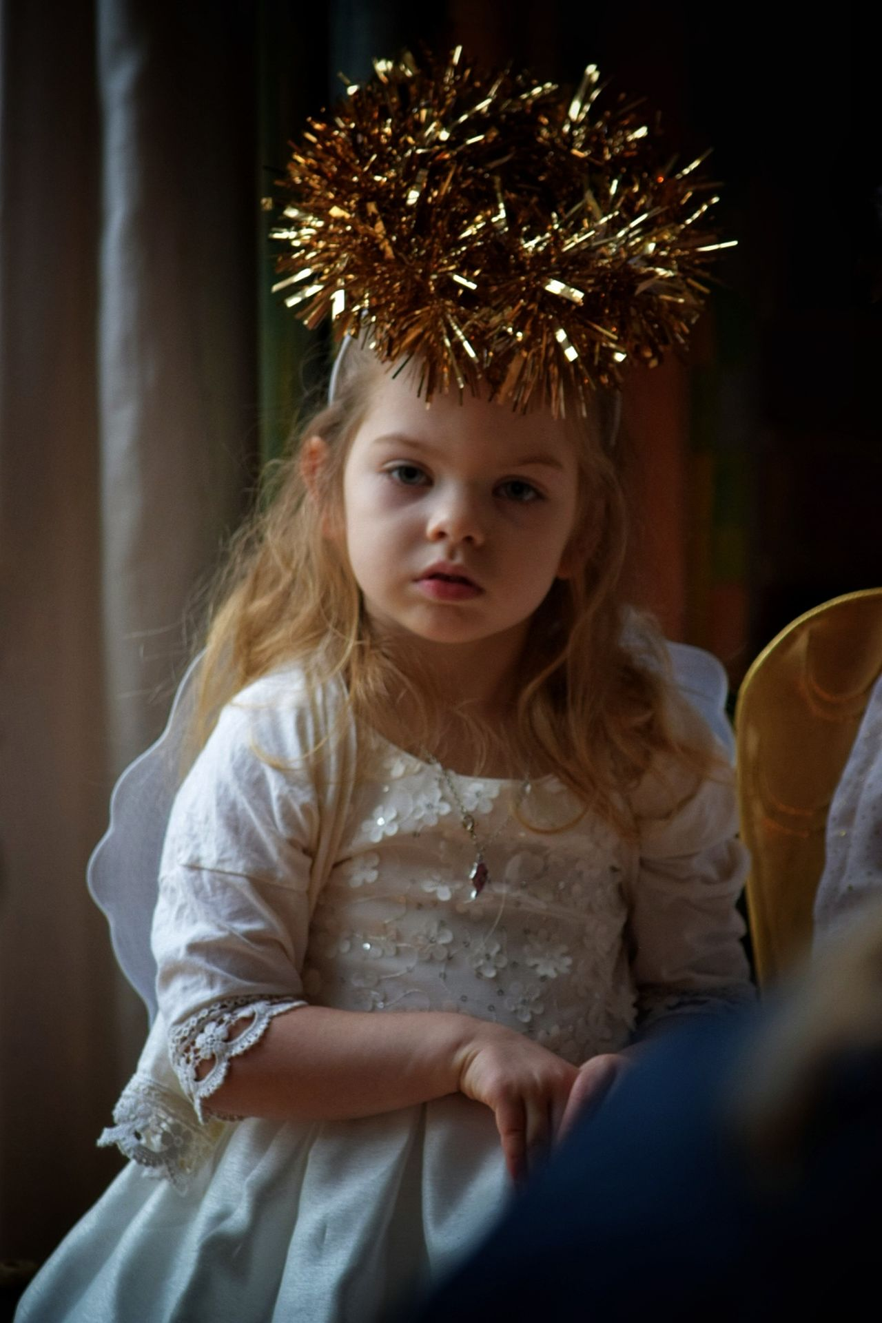Portrait Looking At Camera Child Cute Crown Childhood Blond Hair One Girl Only Children Only Beauty Indoors  Day People One Person Girls Nativity School Play Christmas Angel Niece  Calm Serene Long Hair White The Portraitist - 2017 EyeEm Awards