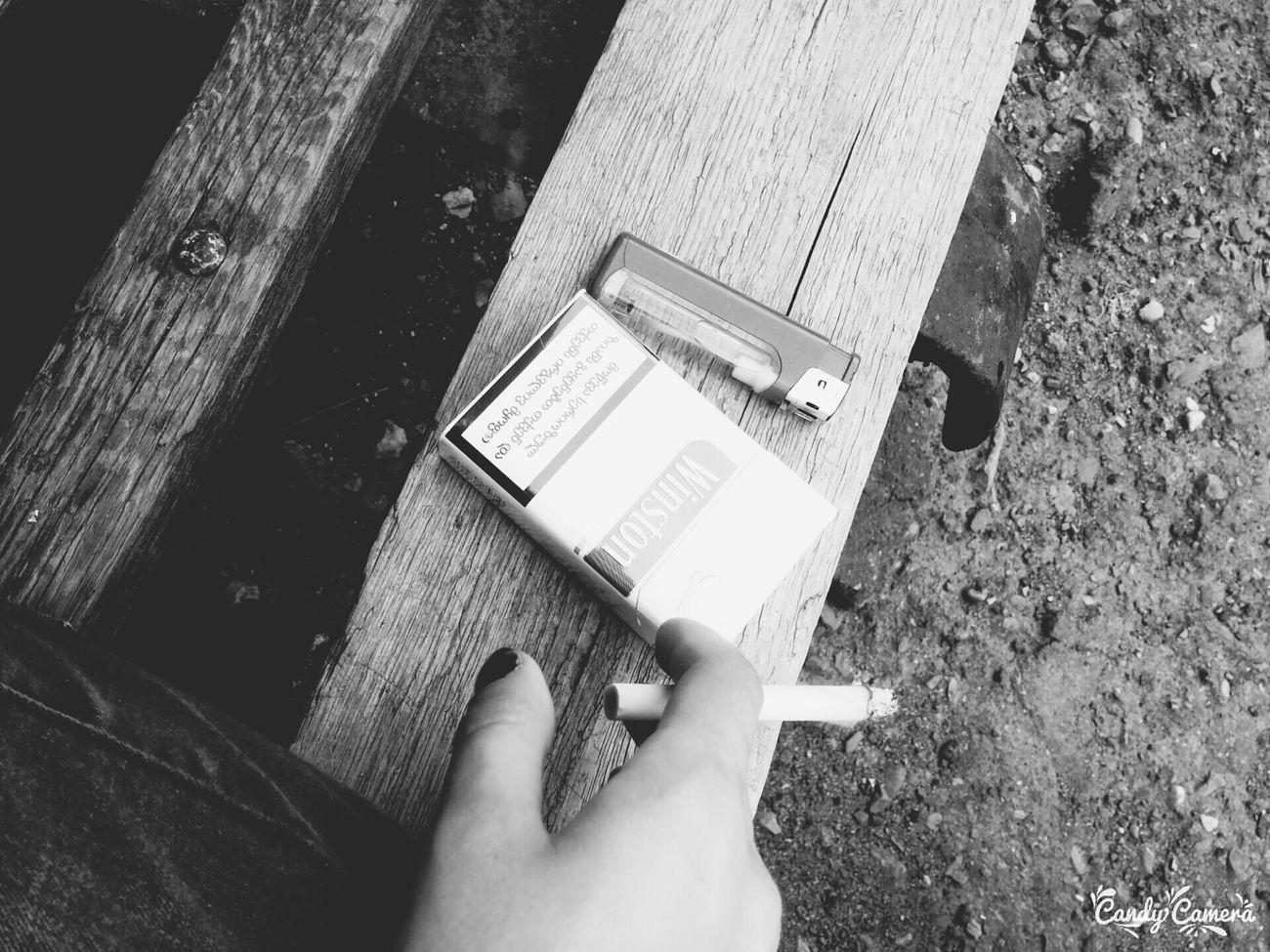 Cigarette  Winston Lighter Black And White