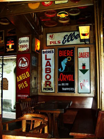 Advertising Bar Bar Decoration Corner Eye4photography  Indoors  Metallic Sign Advertising No People Pub Text Vintage Wooden Chair Wooden Material Wooden Table
