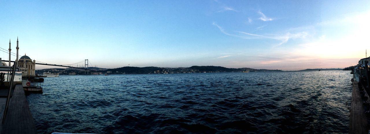 Bosphorus Sunset Strait Panorama
