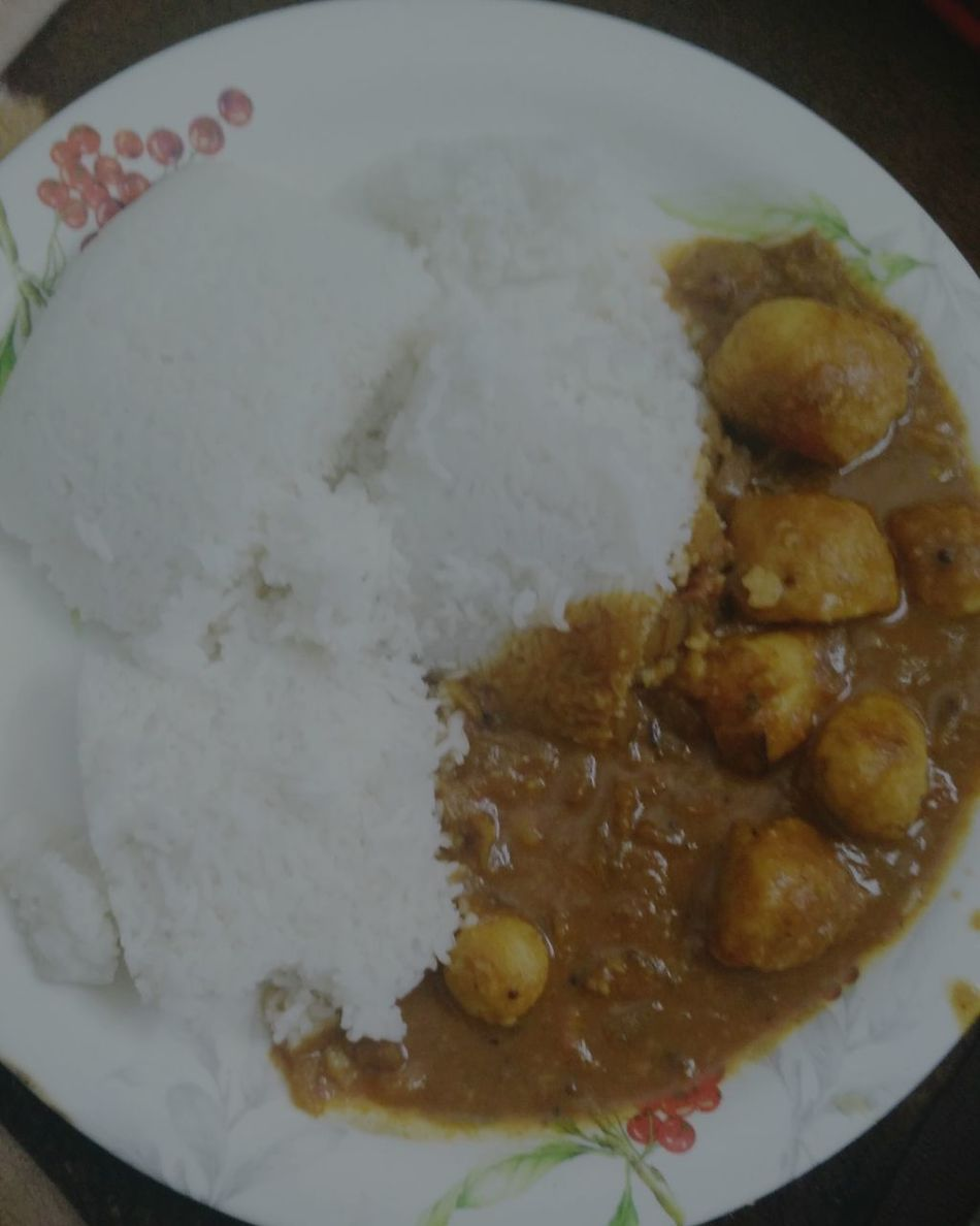 Food And Drink Taro Root Curry Oraganic Rice Vegetarian Food Indian Food Homemade Food High Angle View Healthy Eating Freshness Ready-to-eat Directly Above Plate No People Indoors  Close-up Comfort Food Day