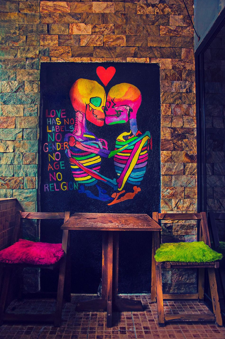 """YANGHOUSE, LA UNION, PHILIPPINES """"My Kind of Artist"""" Art And Craft Indoors  No People Multi Colored Brick Wall Religion Architecture Day Rock - Object Tourism Flowing Idyllic Vacations Motion Love Chocolates Beauty Launion Burn Real People Adult Girl Nolimits Summer Outdoors"""