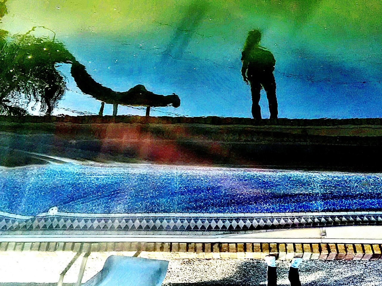 Abstract pool reflection Reflection Water Day Outdoors No People Refraction Nature Pool Reflection Slide Colorsplash Colors One Person