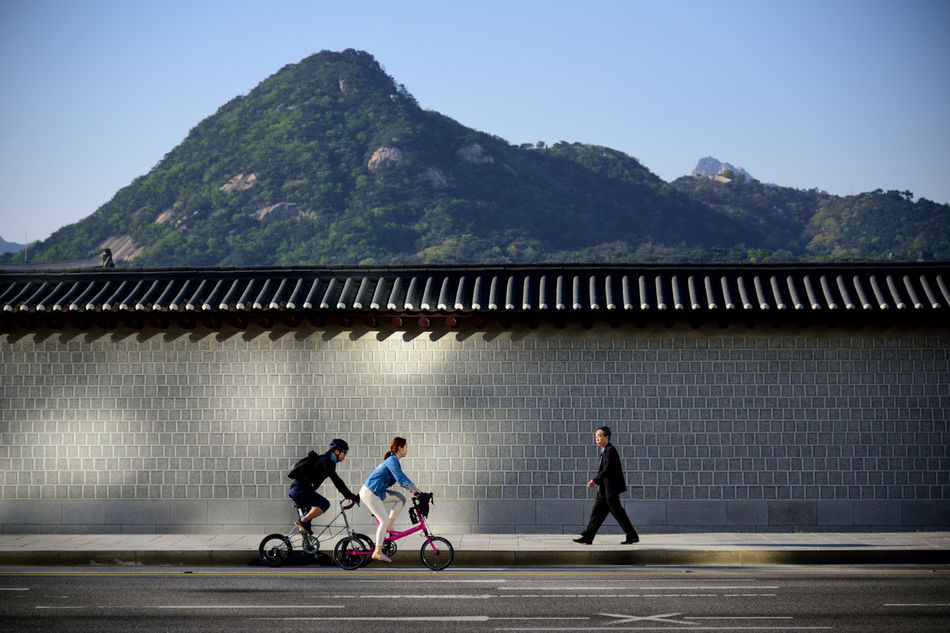 Adult Architecture Built Structure Clear Sky Day Full Length Men Mountain Mountain Range Outdoors People Real People Road Seoul, Korea Sky Togetherness Transportation