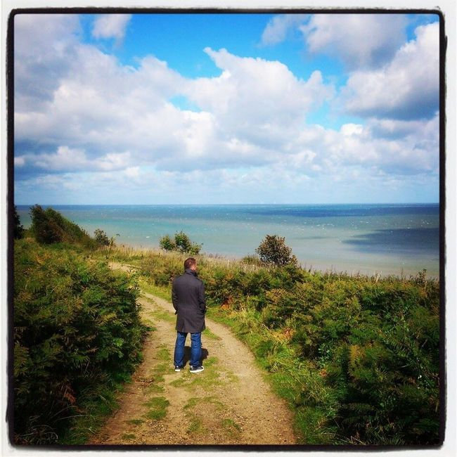 Looking Out To Sea. Beach Photography Landscape_photography Horizon Over Water Blue Sky Bluesea Sunshine Warmth Happy People Beautiful Nature Cromer Beach United Kingdom