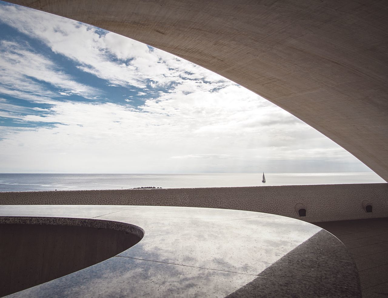 Sailing Architecture Sea Horizon Over Water Water Sky No People Cloud - Sky Outdoors Scenics Beach Day Architecture Nature Curves Geometry Geometric Shape Shapes Tenerife Teneriffa Santa Cruz De Tenerife Auditorium