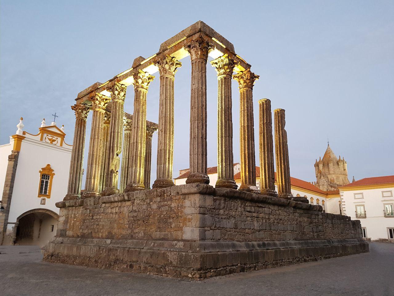 Évora  Portugal Roman Temple Diana Old Town Old Buildings