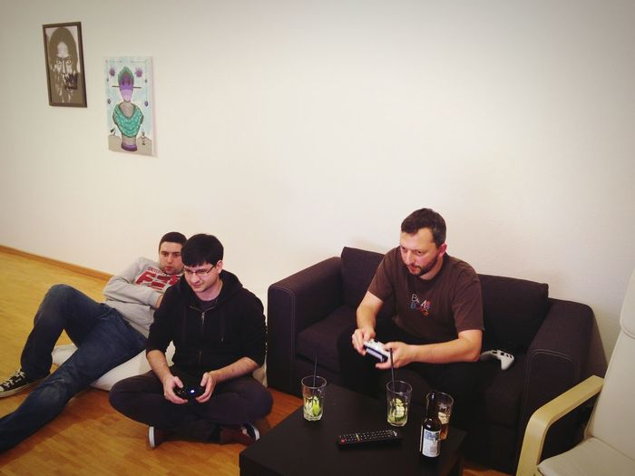 Three guys, one Xbox. Sitting Friendship Sofa Fun Living Room Togetherness Playing Alcohol Only Men Adults Only Being Lukasz Pan Dario
