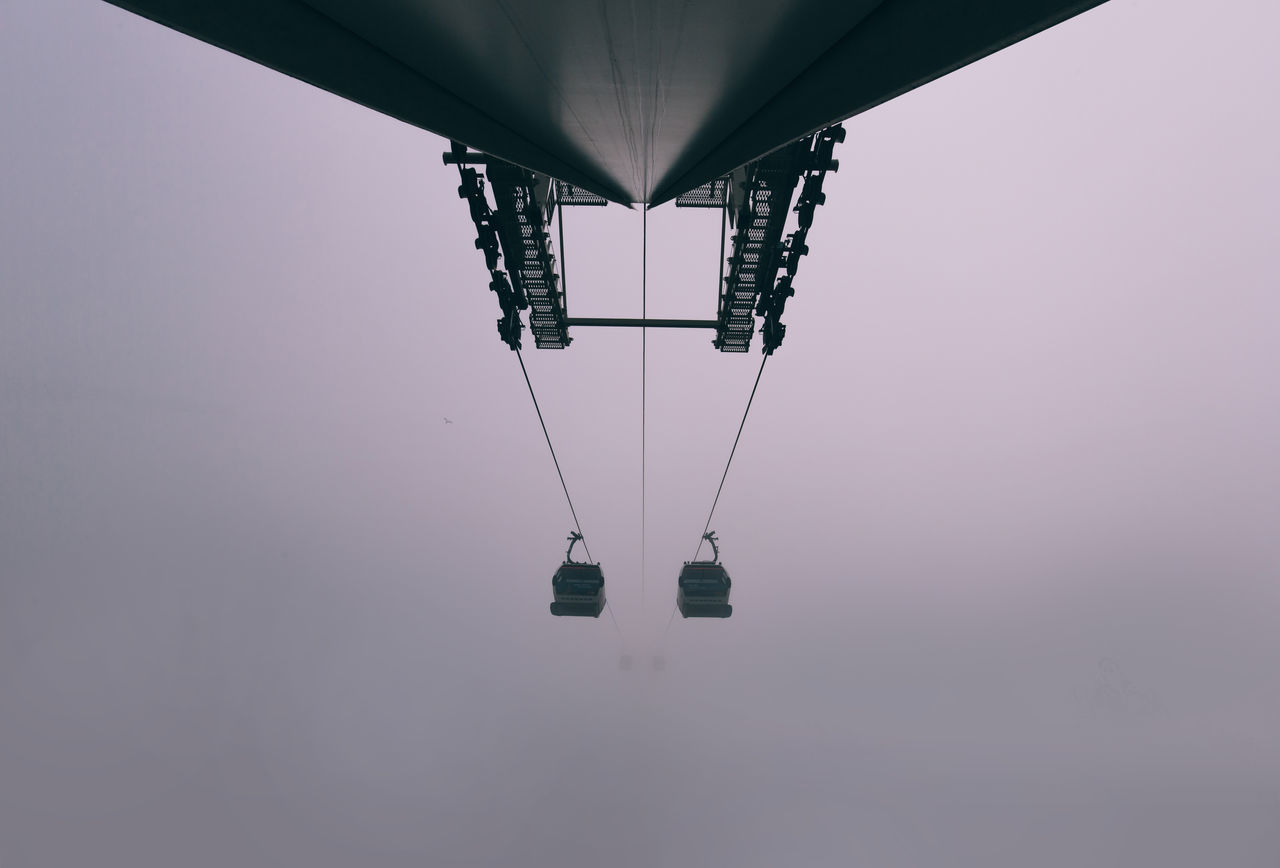 Cable Car Cable Car Emirates Foggy Morning High Angle View London Lookingup Minimal No People