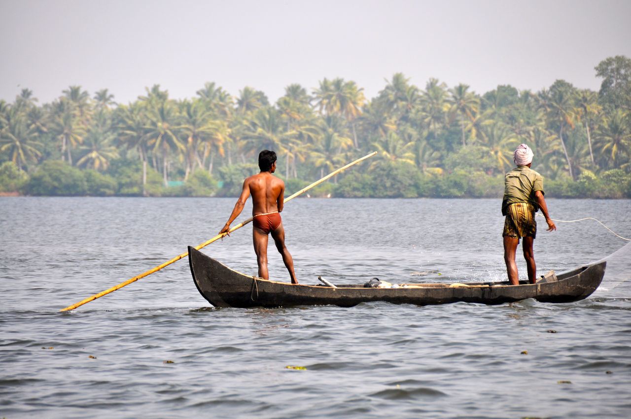 Backwaters Fishermen India Kerala Nautical Vessel Scenics Traditional Tranquil Scene