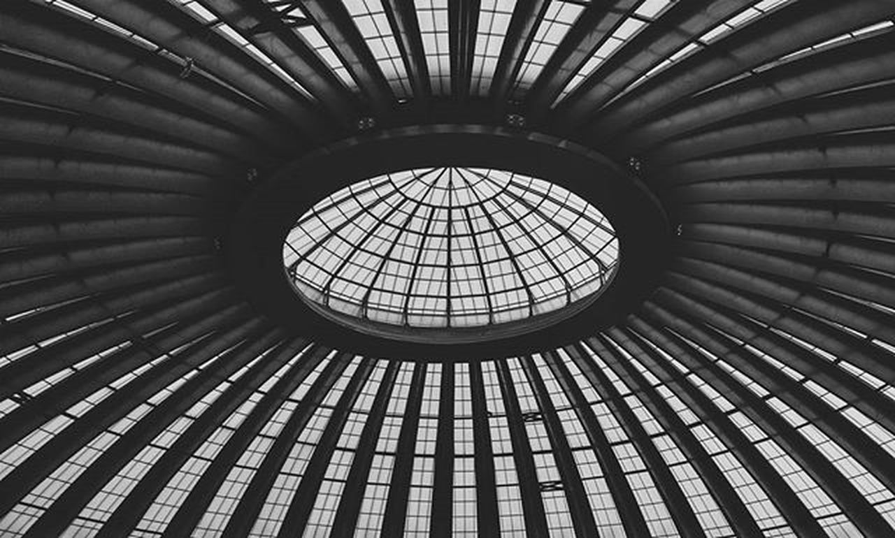 full frame, pattern, backgrounds, indoors, built structure, architecture, no people, dome, low angle view, concentric, day, modern, close-up