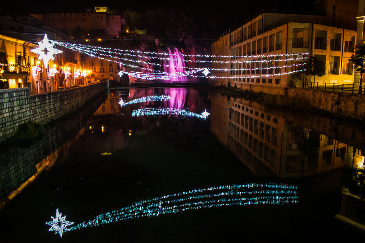 River Liri view...Waterfall and Lights Architecture Bridge - Man Made Structure Building Exterior Built Structure Cascata Isola D City Cityscape Colors Connection Downtown District Illuminated Isola Del Liri Lights Multi Colored Night No People Noël Outdoors Reflection River View Sky Sora  Travel Destinations Water Waterfall