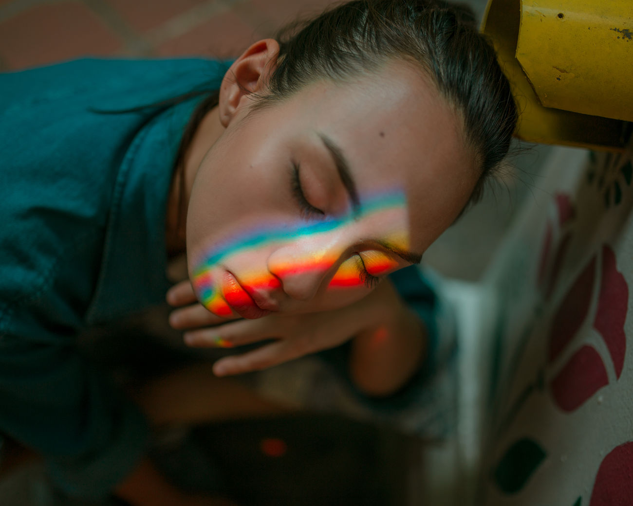 settle down, dear heart Close-up Place Of Heart The Portraitist - 2017 EyeEm Awards Beautiful People Light Collection Portrait Photography Women Around The World Light Portrait Of A Woman Indoors  Dreamlike Light And Shadow Portrait Human Face Multi Colored Rainbow Prism