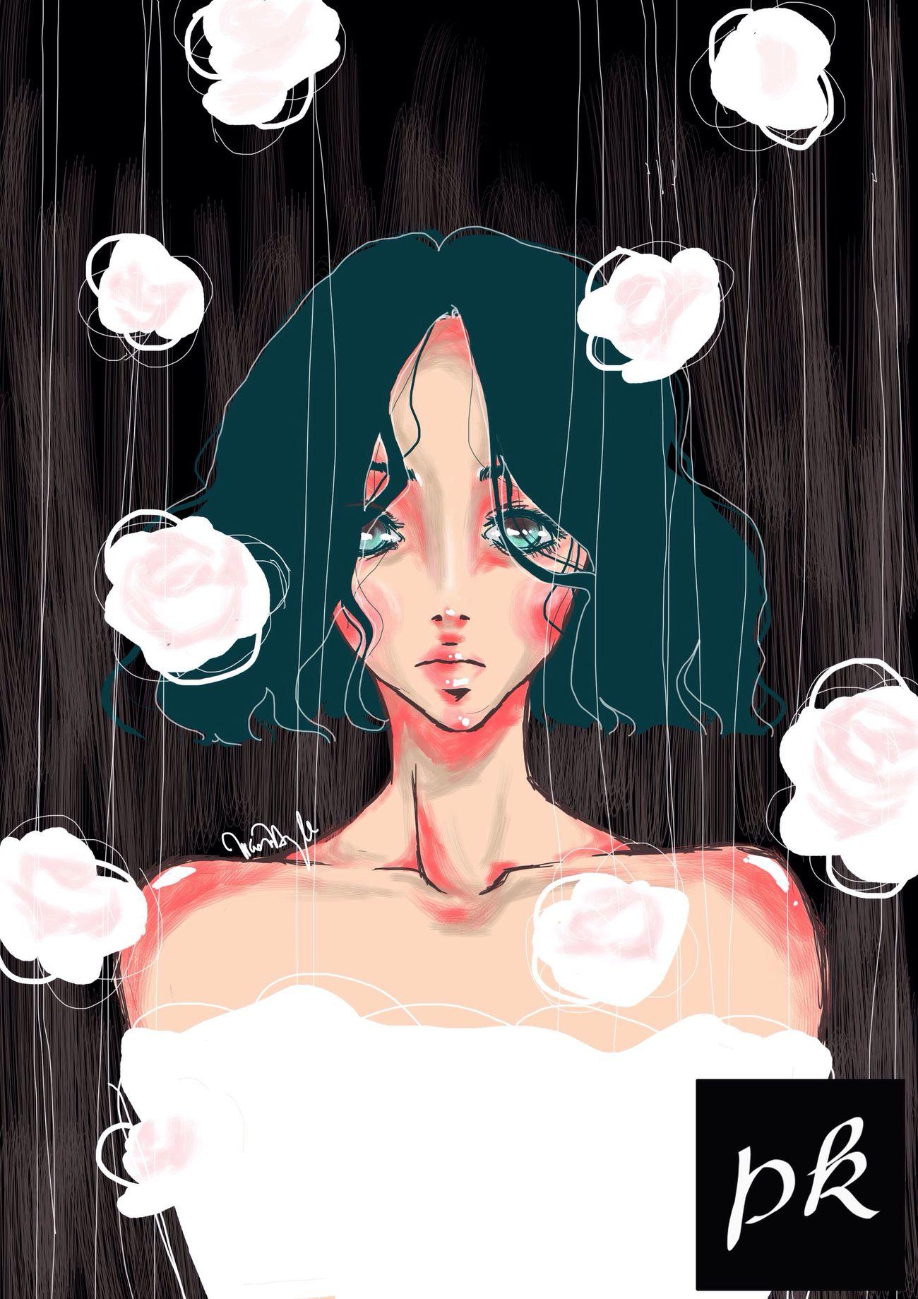 Art My Art Photoshop Manga Girl Roses Flower Art, Drawing, Creativity