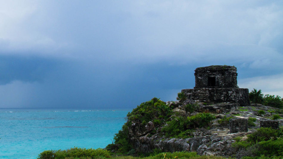 Ancient Architecture Beauty In Nature Caribean Sea Cloud - Sky Day Horizon Over Water Nature No People Outdoors Rock - Object Scenics Sea Sky Tranquil Scene Tranquility Travel Destinations Tree Tulum , Rivera Maya. Turkey Water