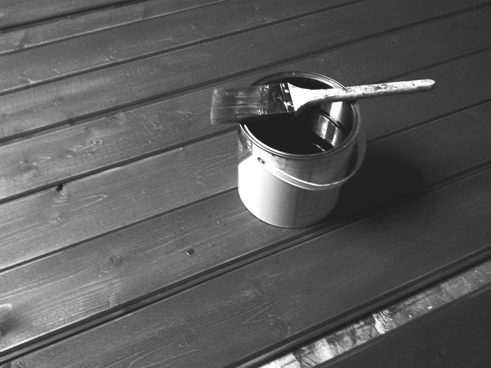 Black And White Black & White Monochrome Process Brush Grey Painted DIY Decorating Wood Interior Interior Views Slats Process Project Bathroom Ongoing Work Paint Textures And Surfaces Learn & Shoot: Leading Lines Can Tin Showing Imperfection Varnish Texture