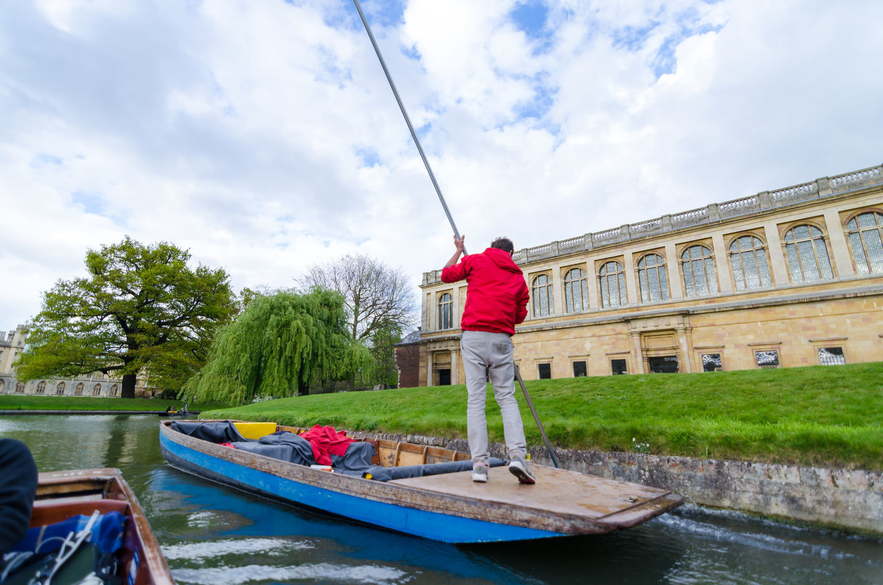 Adult Architecture Building Exterior Cambridge University Cambridgeshire Cloud - Sky Day Full Length Leisure Activity Lifestyles Men Nature Nautical Vessel One Person Outdoors People Punting On The River Real People Sky Standing Tourist Attraction  Transportation Tree University Campus Water