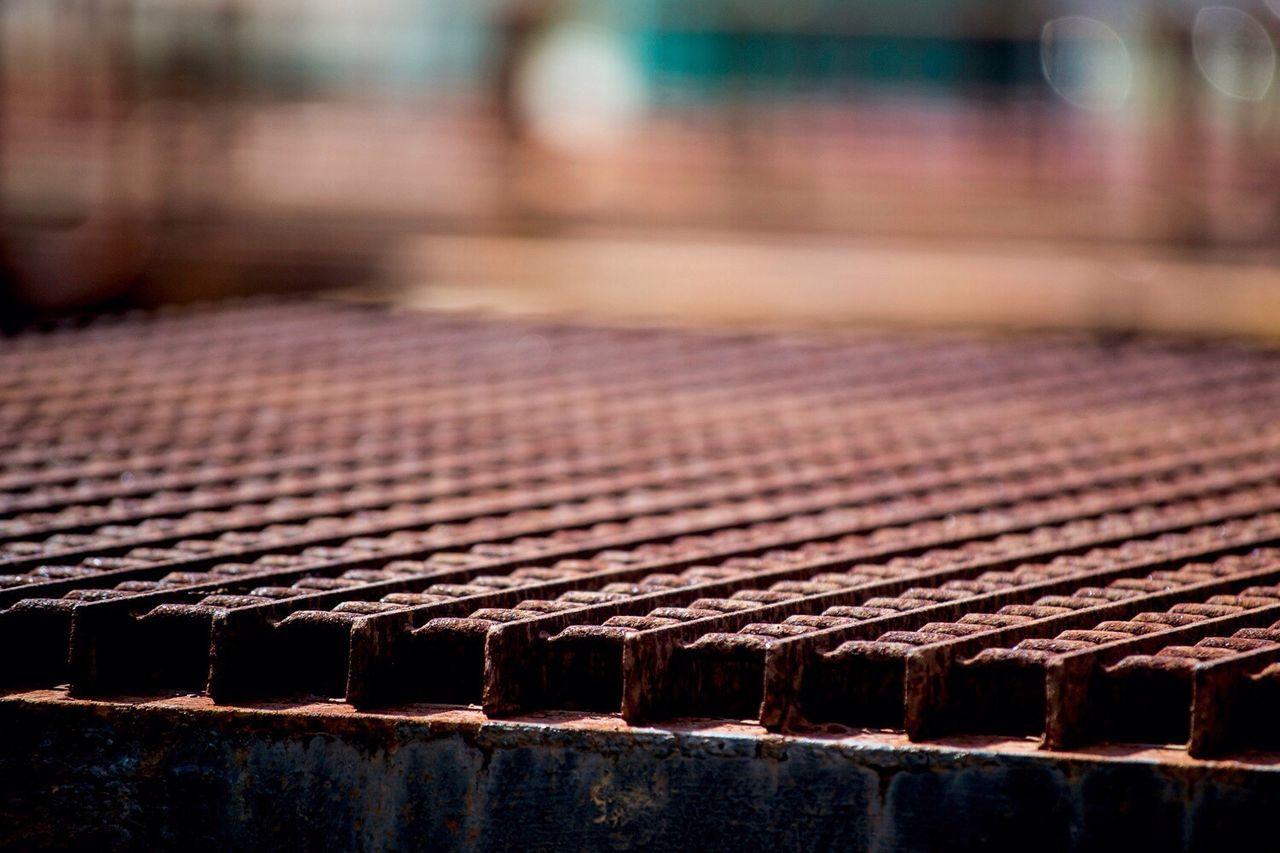 Close-Up Of Rusty Metal Grate