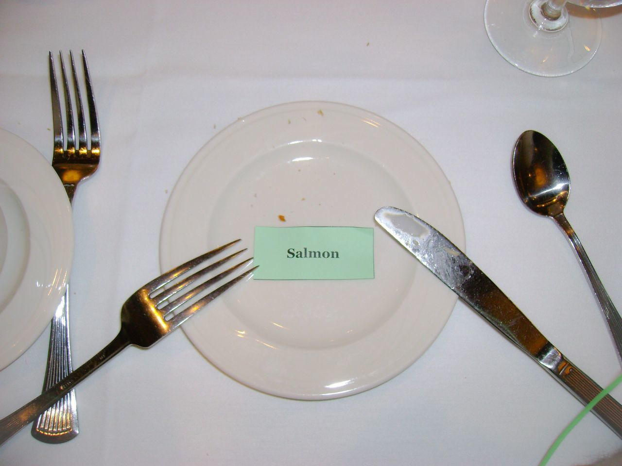 High Angle View Of Plate With Text By Forks On Table