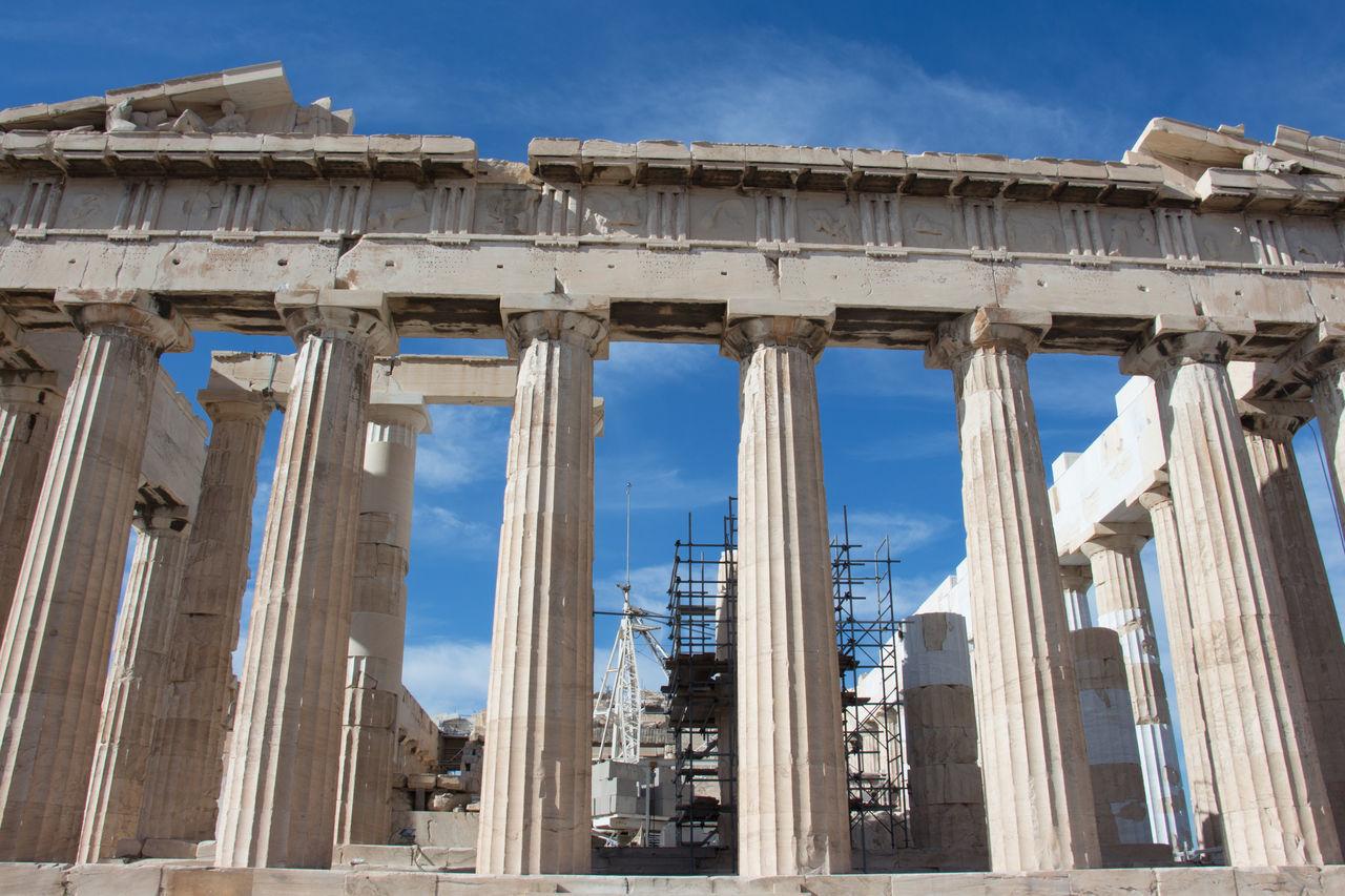 Archaeology Architectural Column Architecture Blue Built Structure History Parthenon Acropolis Greece Sky Sunlight
