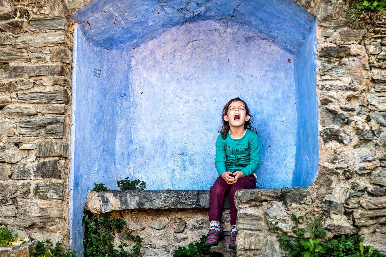 One Person Blue Outdoors Childhood Portrait Front View One Girl Only Fragments Of Life Open Edit Things I See Color Sitting