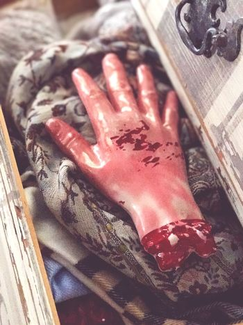 Halloween hand prop in drawer Body Part Movie Props Movie Prop Scared BLOODY Amputation Blood And Gore Halloween Horrors Halloween Blood Bloody Hand Halloween Props Table Close-up No People Indoors  Wood - Material Red Food