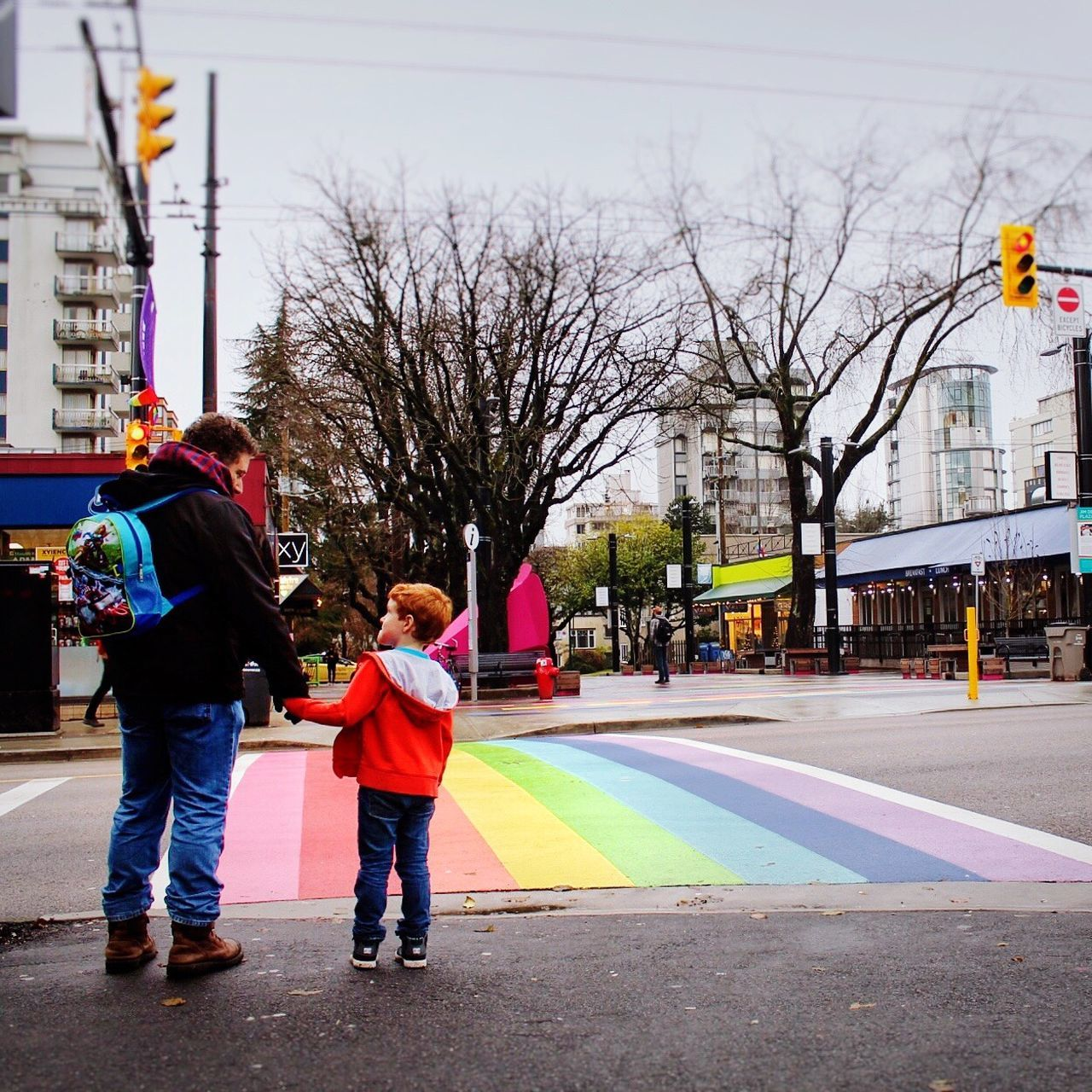 Gay Pride 🏳️🌈 sSafe FFreedom vVisibility hHuman MMan cChild CCrosswalk sStreetphotography LLove tTogetherness tTwo People bBuilding Exterior CCity sSky oOutdoors The Street Photographer - 2017 EyeEm Awards